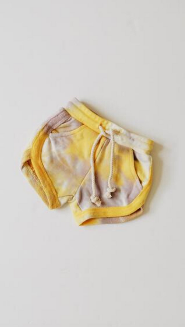 Orcas Lucille Kids Purple and Yellow Tie Dye Short Shorts