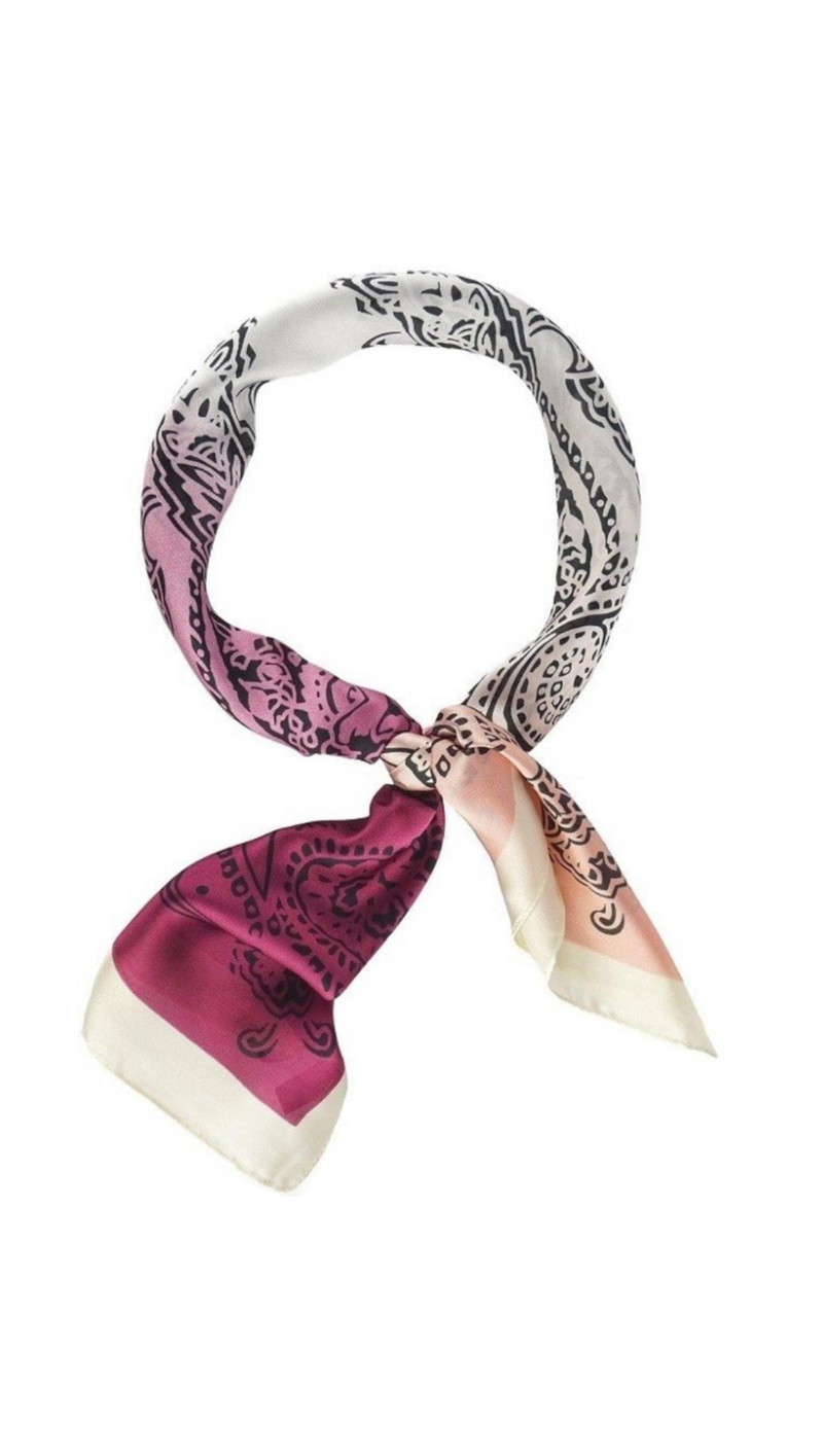 Silky Pink and Peach Paisley Print Scarf