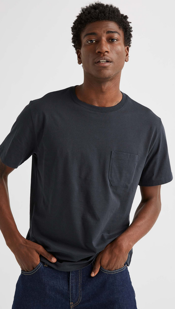 Richer Poorer Men's Black Crewneck Pocket Tee