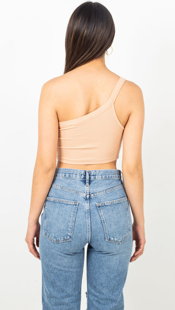 Ribbed One Shoulder Crop Top - Buff