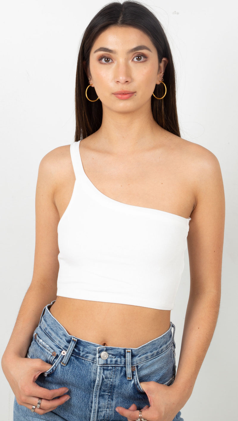stpl ribbed one shoulder tank top white