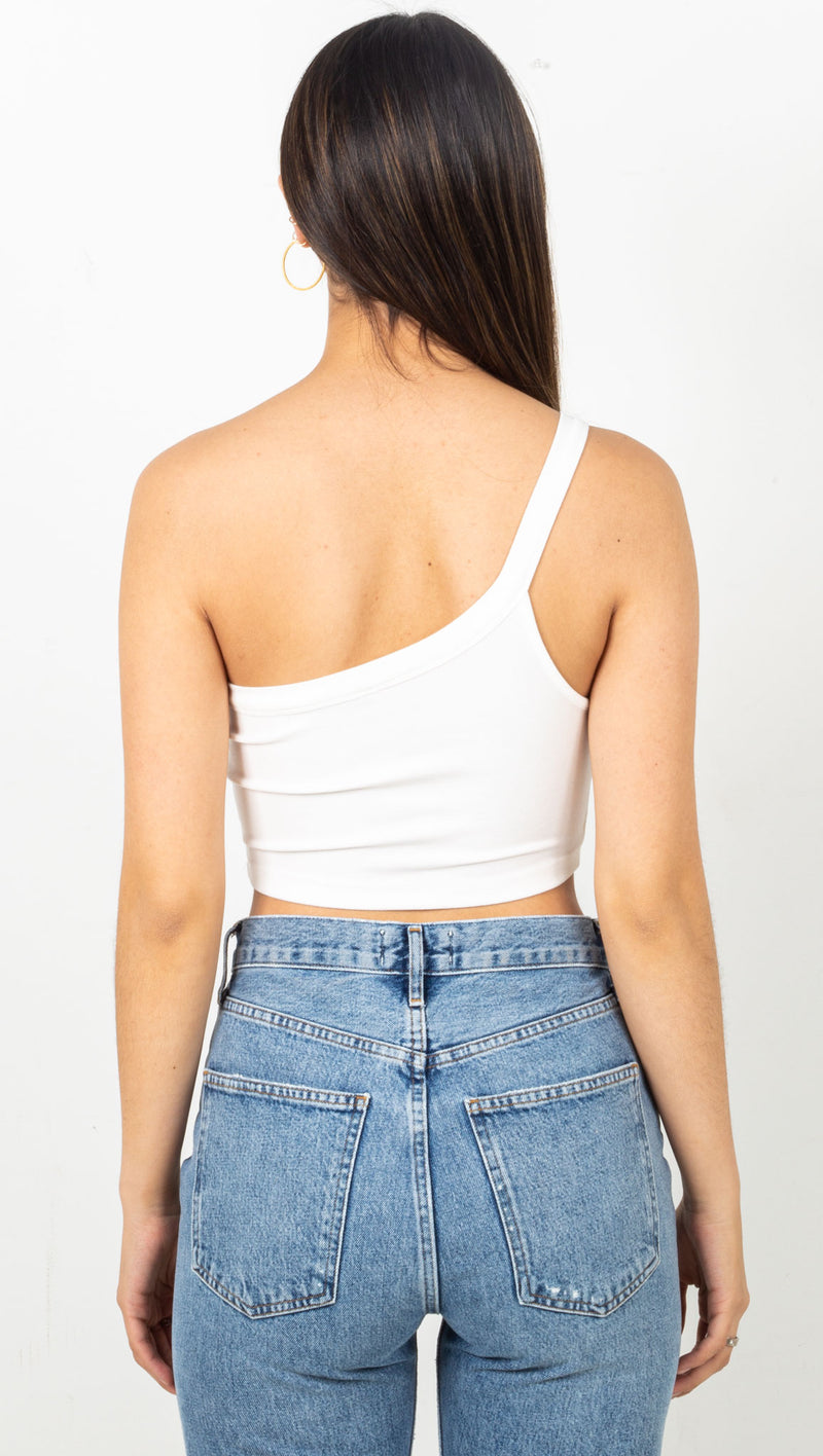 Ribbed One Shoulder Crop Top - White