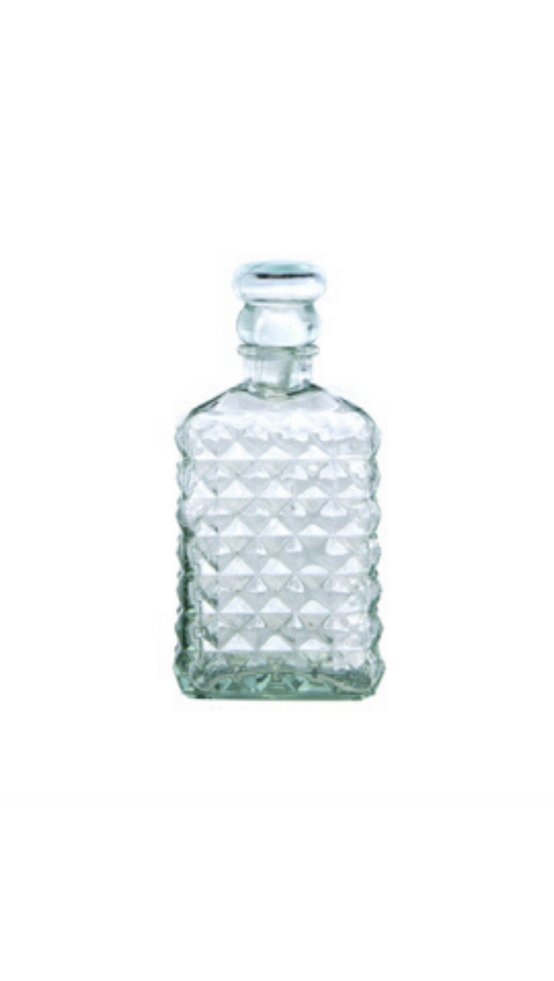 Shiraleah Recycled Glass Decanter with Diamond Pattern