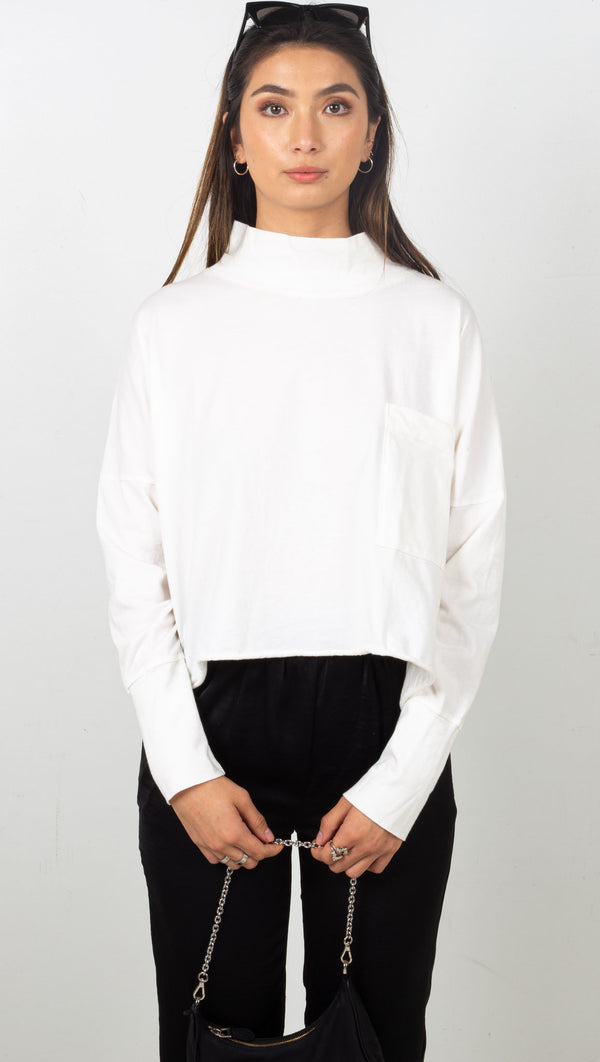 stpl mock neck long sleeve white