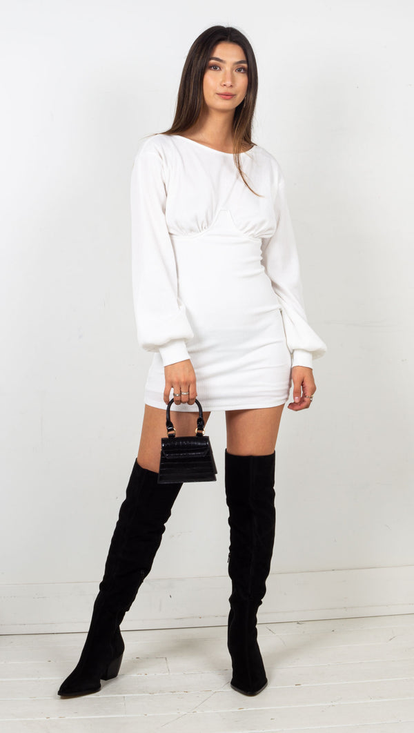 stpl mini ribbed white long sleeve dress