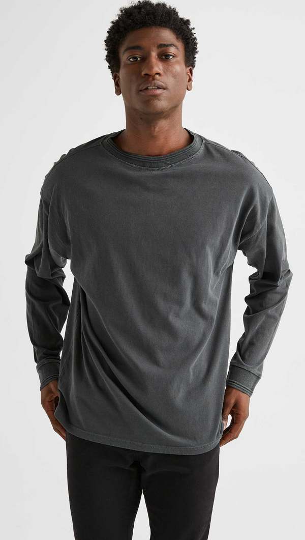Richer Poorer Men's Washed Black Long Sleeve Tee