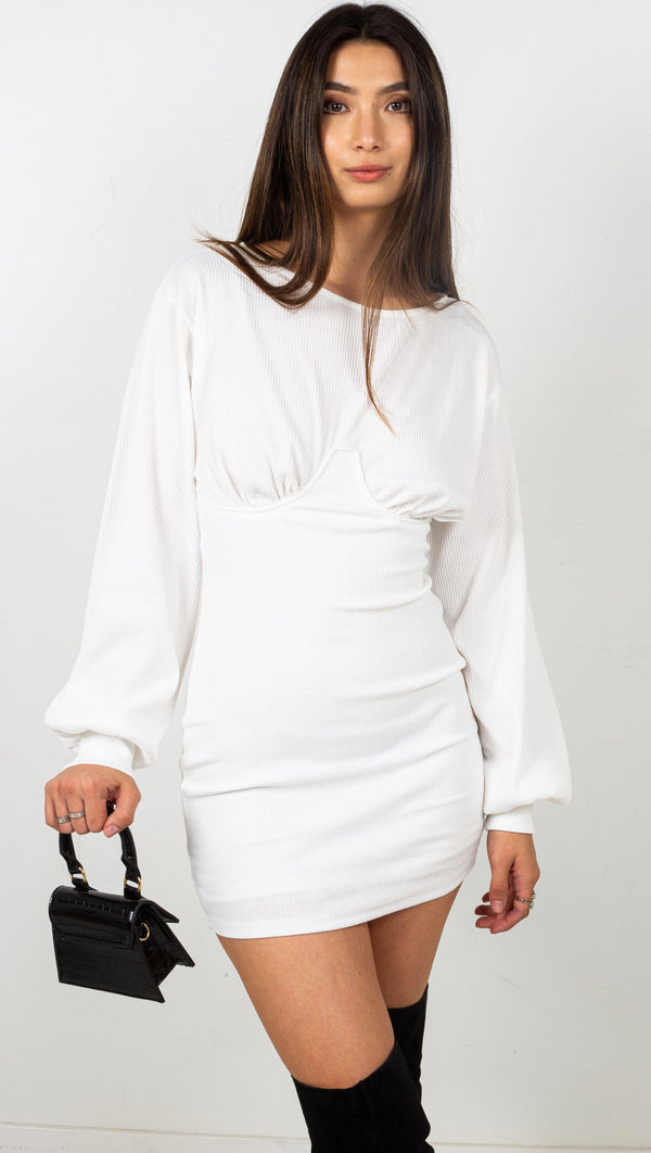 Ribbed Long Sleeve Mini Dress - White