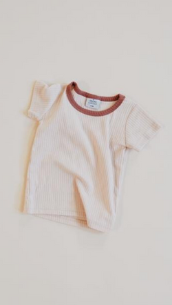 Orcas Lucille Kids Ribbed Cream Tee with Terracotta Necklace