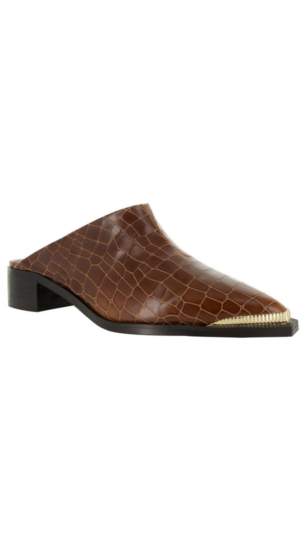 Sense brown crocodile print leather with gold pointed toe