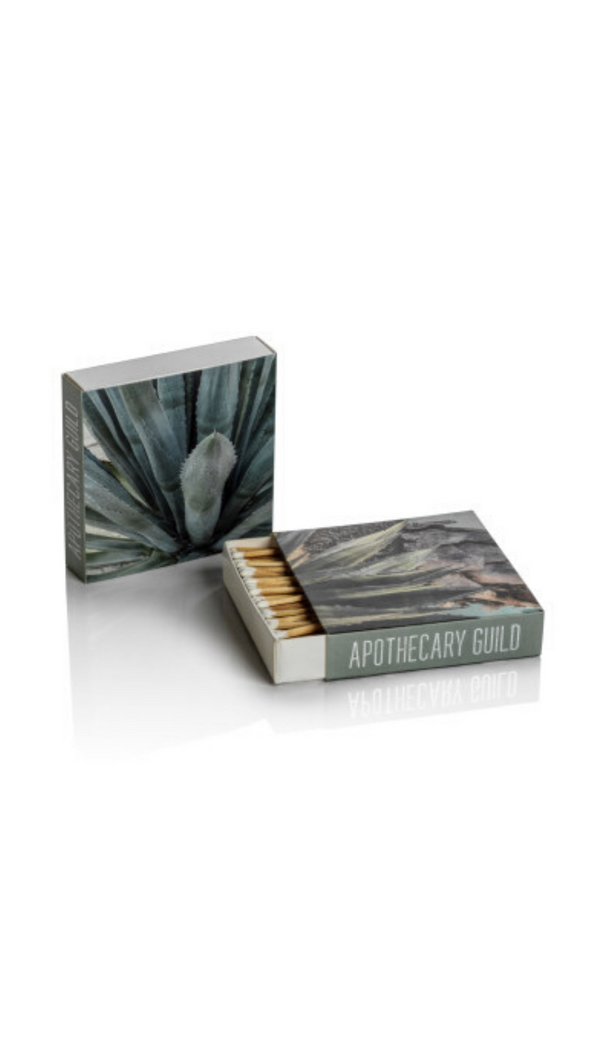 Zodax Square Box of 120 Matchsticks With Green Agave Prints