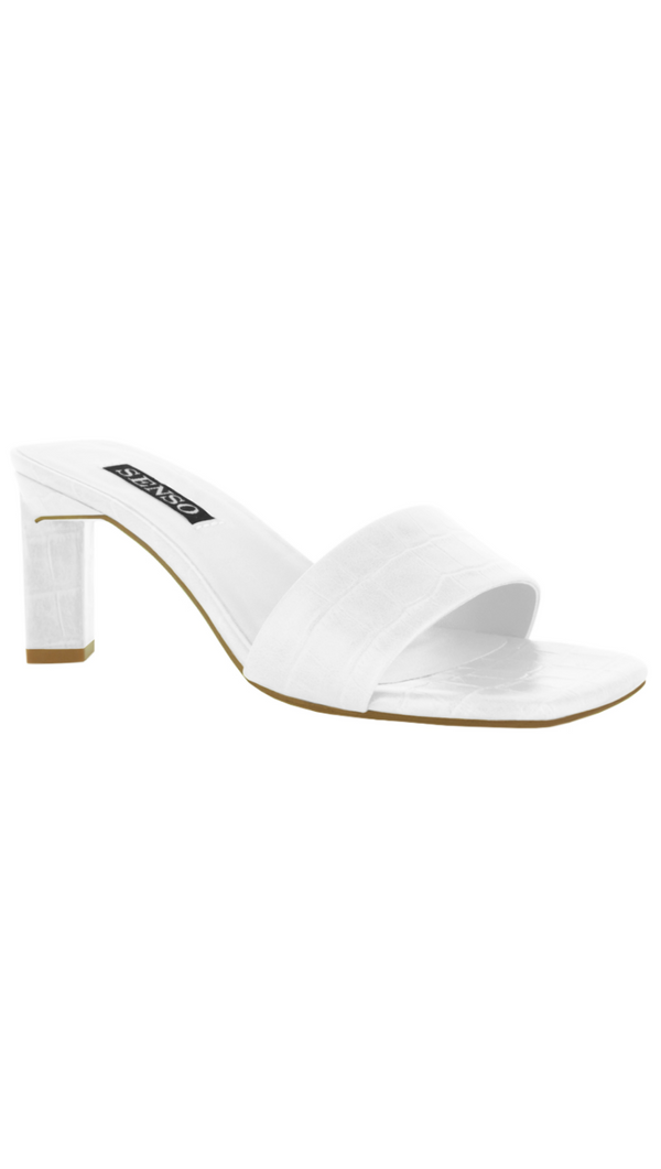 Senso white slip on crocodile print heel