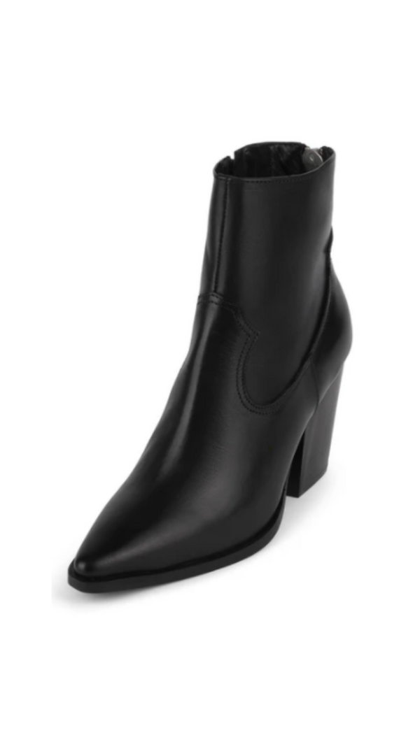 Jeffrey Campbell Black Leather Pointed Toe Heeled Booties