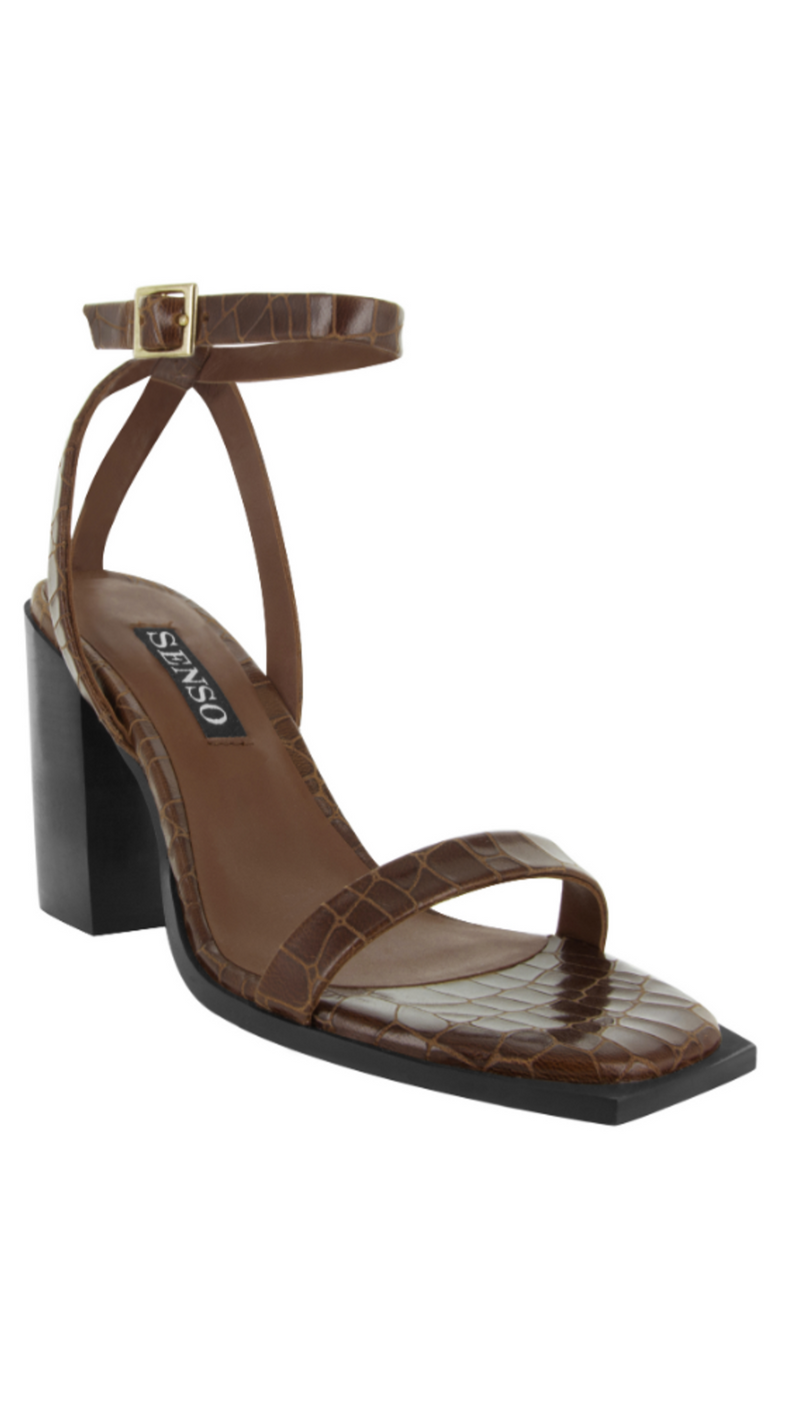 Senso brown crocodile/black chunky heel with ankle strap