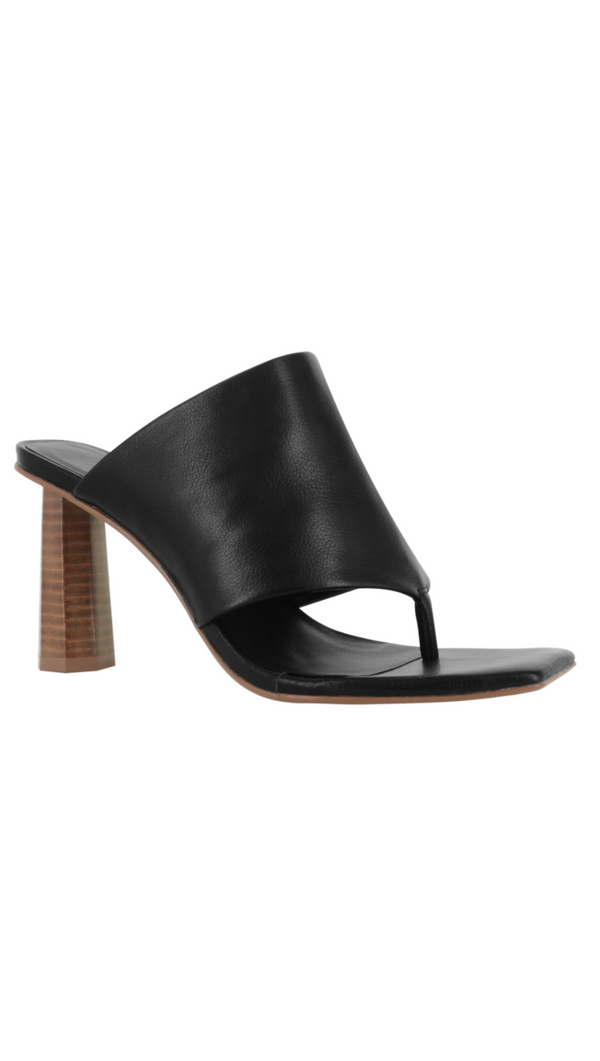Senso Black Leather Slip-On Sandal With Wood Heel