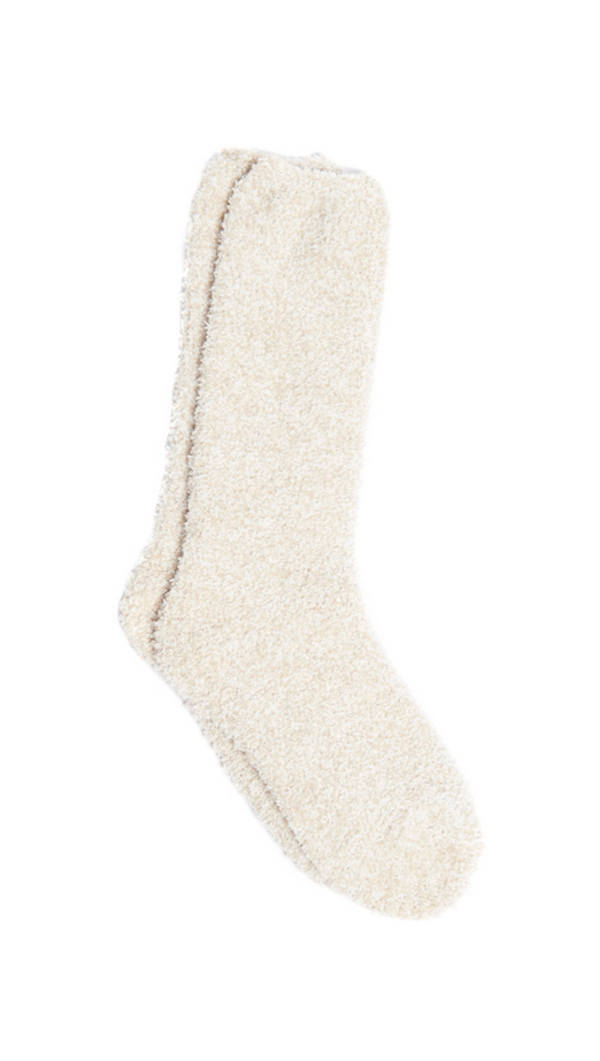 Barefoot Dreams Heathered Nude and White Fuzzy Calf Socks