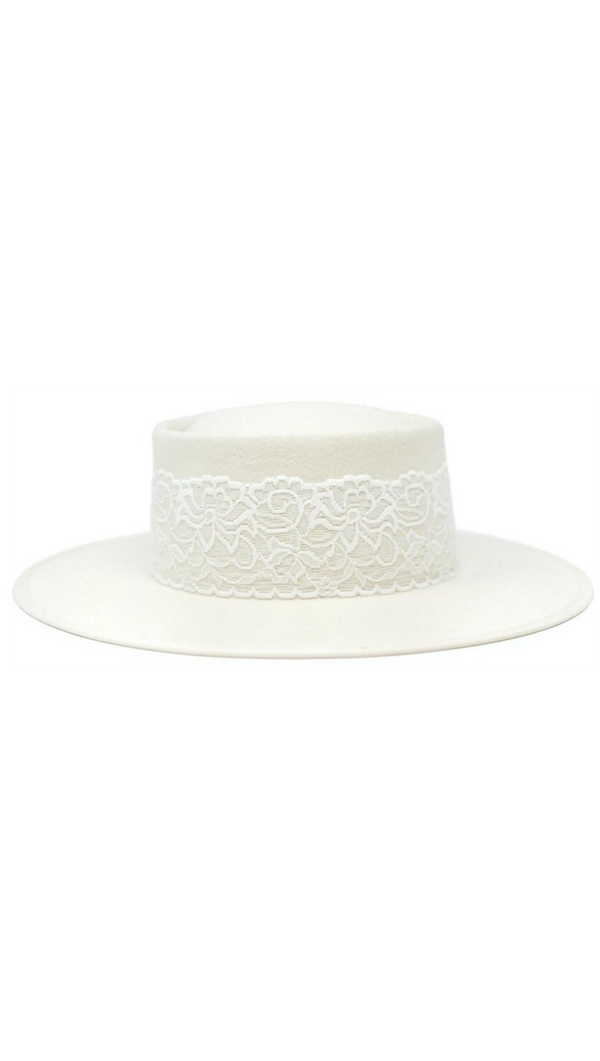 White Felt/Wool Hat With Round Crown and White Lace Band
