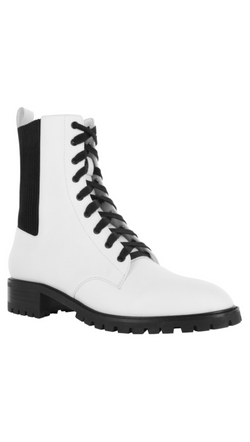 Senso white combat boot with black detail