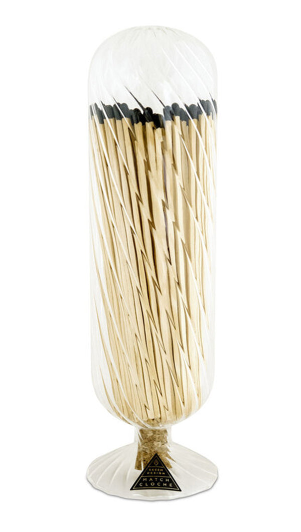 Ribbed Fireplace Match Cloche - Black Tips