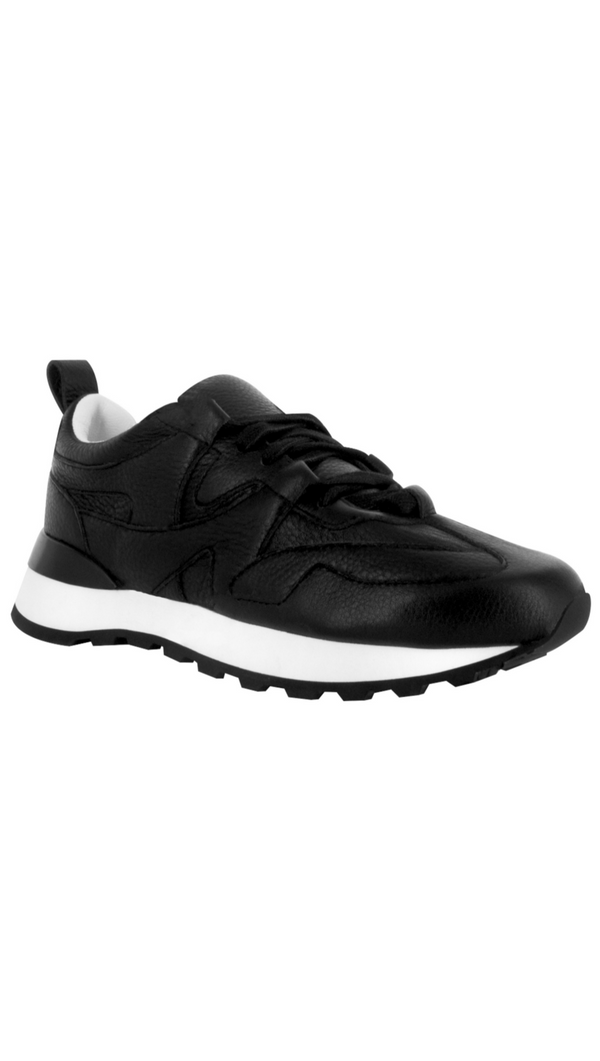 Senso black leather sneaker with white sole