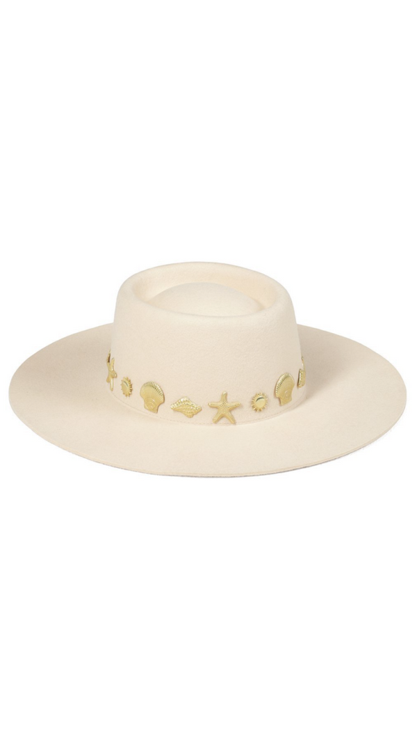 Lack Of Color Ivory Wool Boater With Gold Seashell Embellishments
