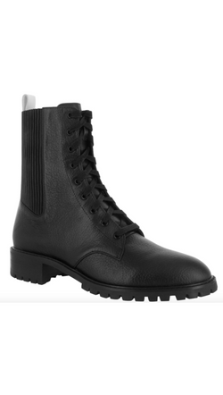 Senso black leather combat boot with textured detail