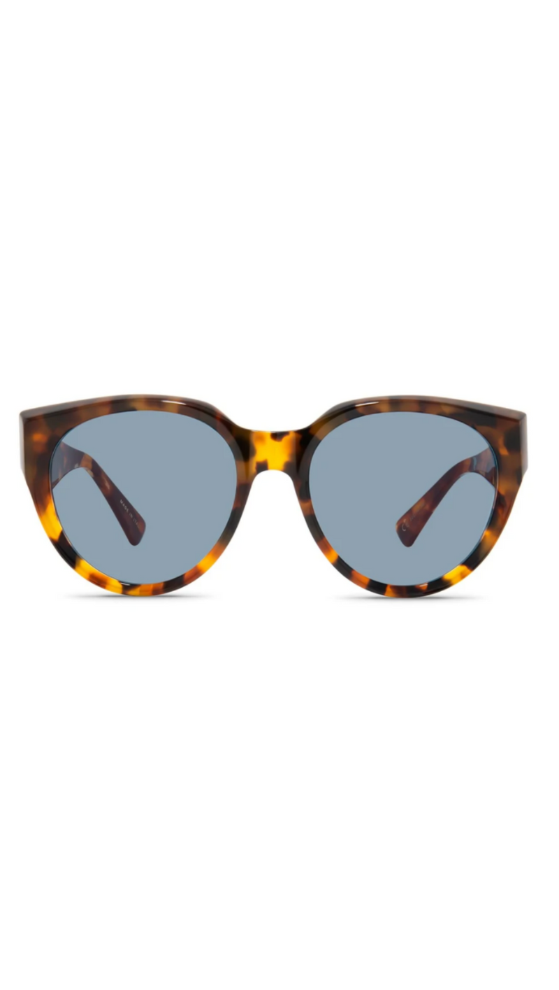 Saint Owen Round Sunglasses With Tortoise Acetate Frames and Blue/Grey Lenses