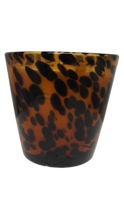Zodax tan/black tortoise printed glass jar coconut mango scented candle