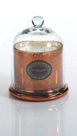 Zodax italian citron scented candle with copper jar and clear dome cover