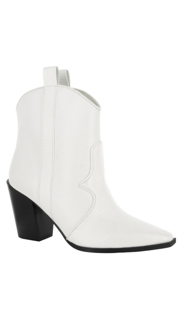Senso white texture western booties with black heel