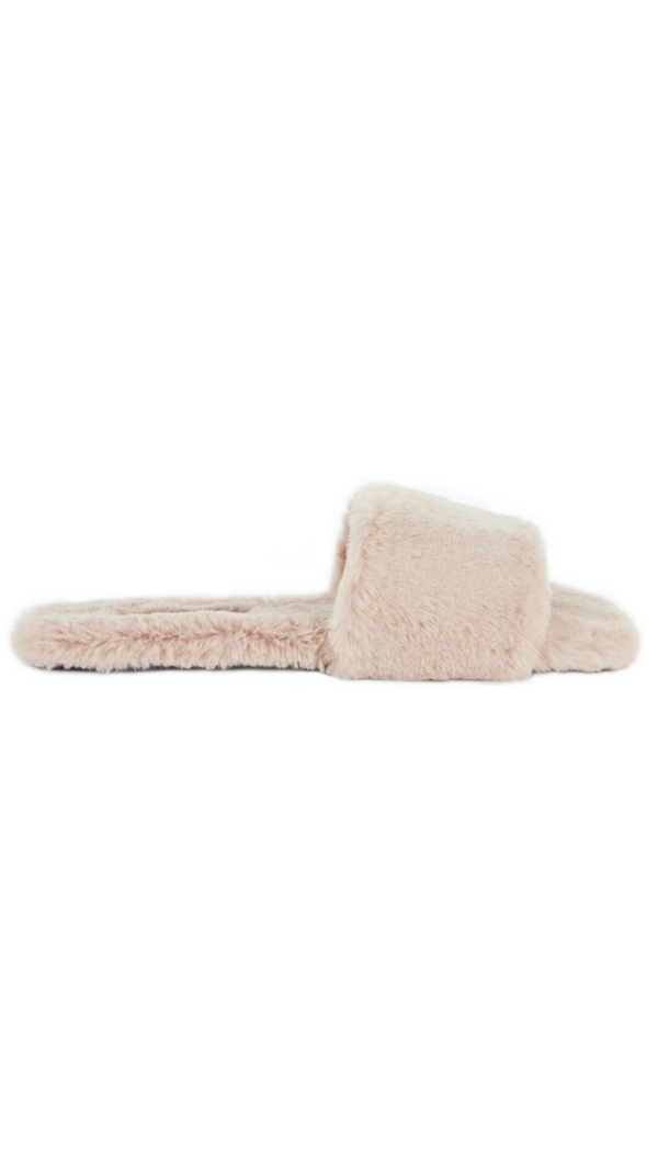 Sense neutral pink faux fur slides/sandals