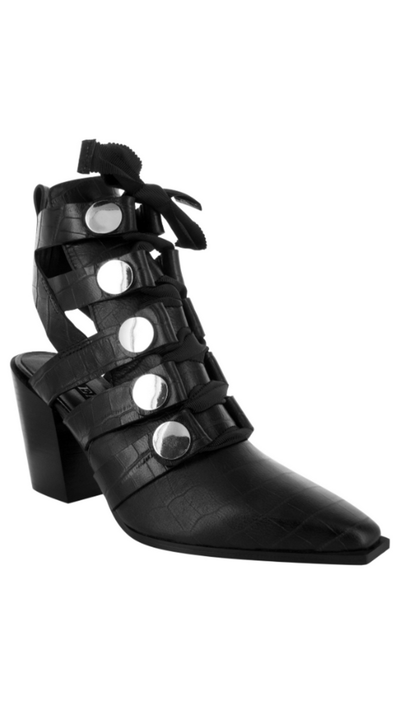 Senso black leather crocodile print booties with cutouts and silver hardware