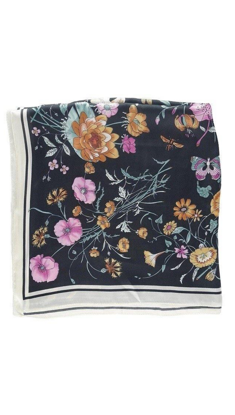 So Silky Scarf - Botanical Print Black