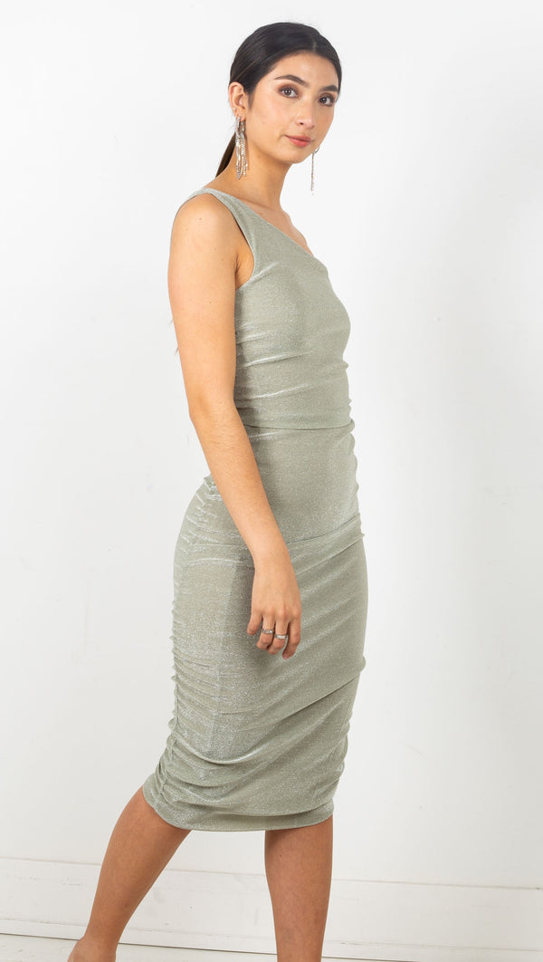Stardust One Shoulder Midi Dress - Sage