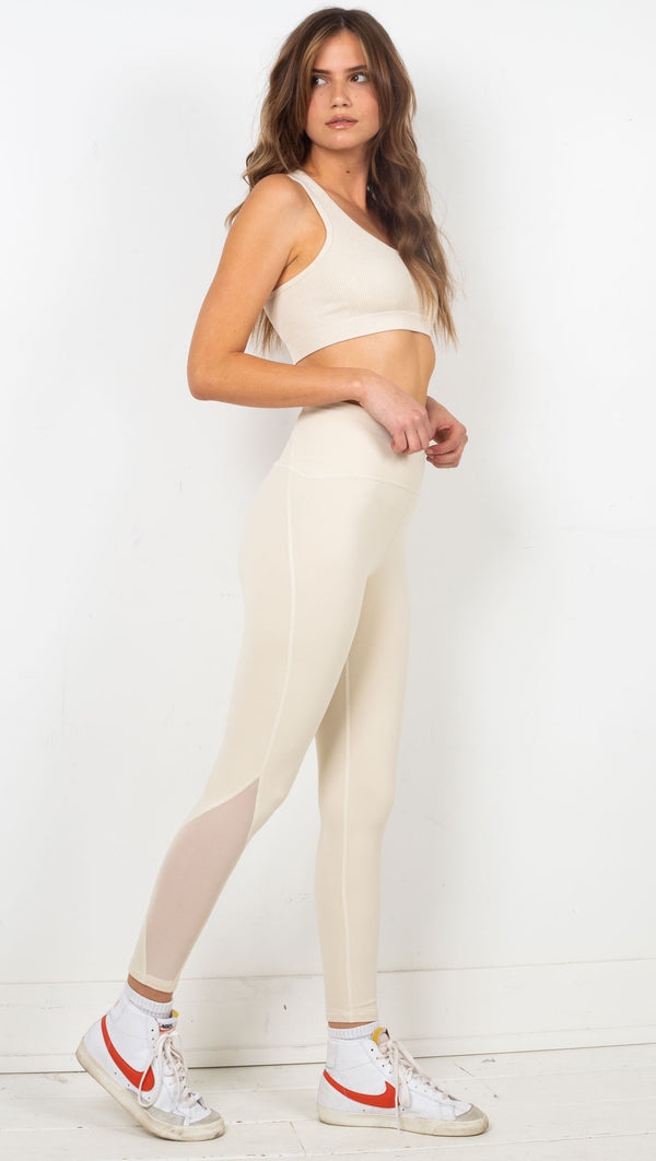 Mesh Panel Legging - Natural