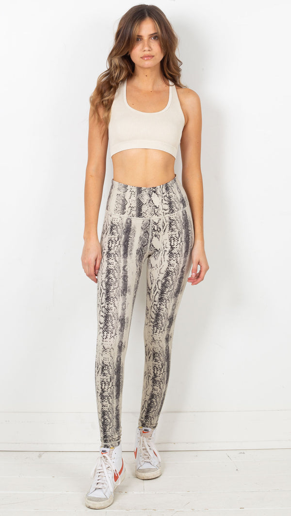Snake Print High Waist Legging - Natural
