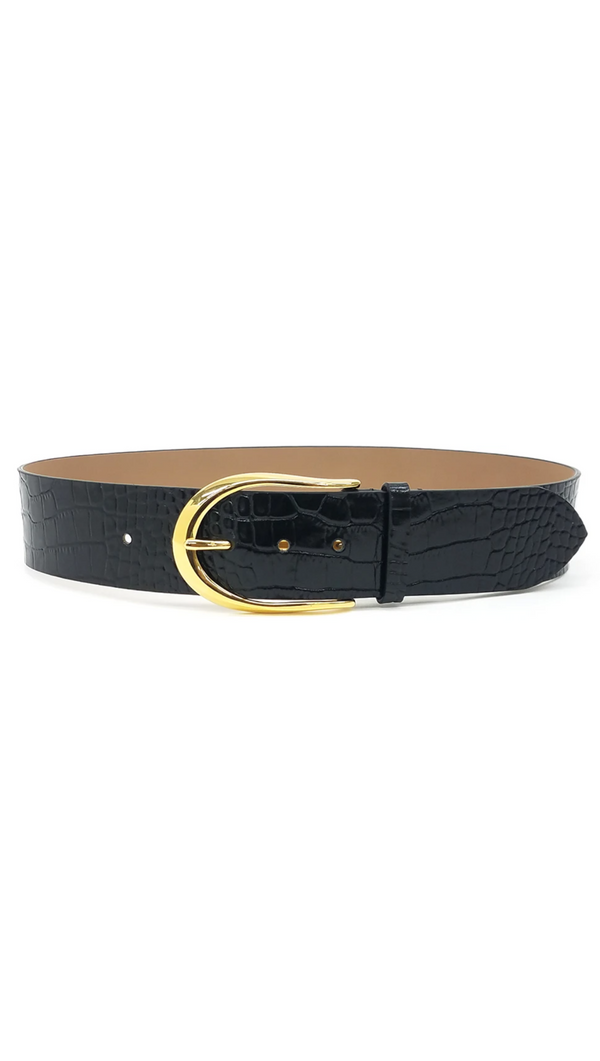 B-Low The Belt Wide Black Leather Crocodile Print Belt