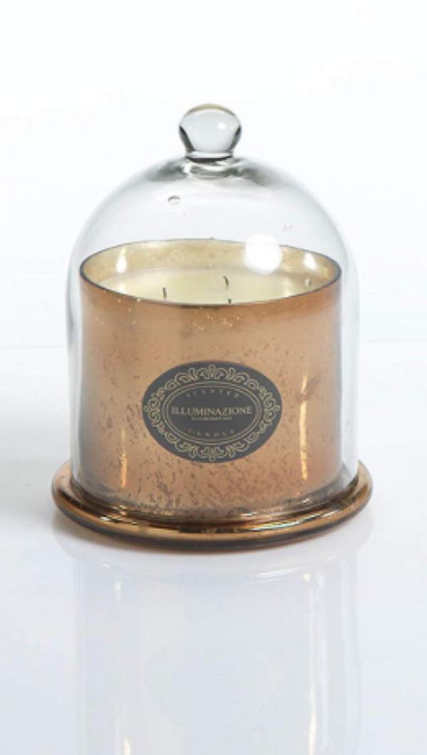 Zodax vanilla orchid scented candle with gold jar and clear dome cover