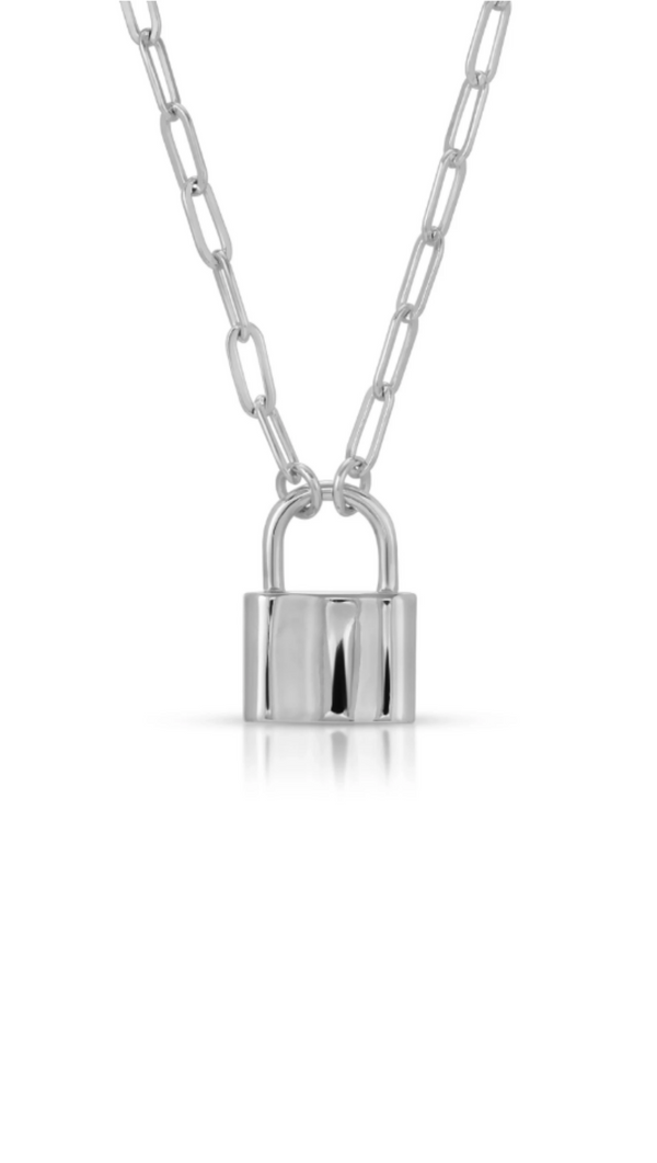 Joy Dravecky Silver Cable Chain and Lock Necklace