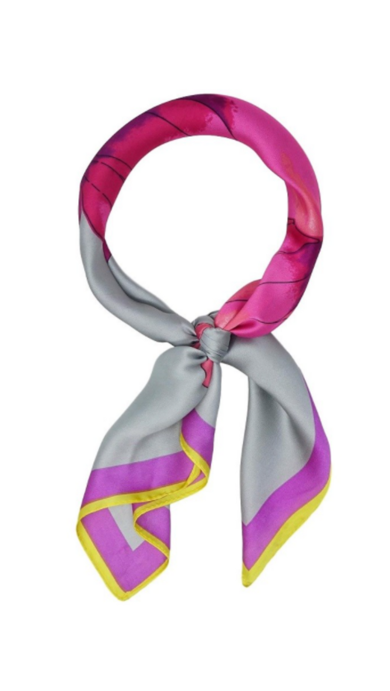 Olive & Pique Grey Silky Scarf With Pink Flowers