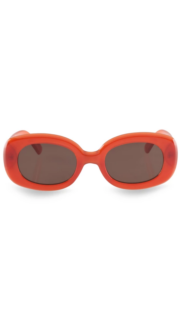 Reality Eyewear red-orange rounded thick rectangle sunglassees