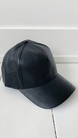 Black Vegan Leather Baseball Cap