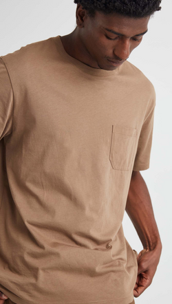 Richer Poorer Men's Brown Crewneck Pocket Tee