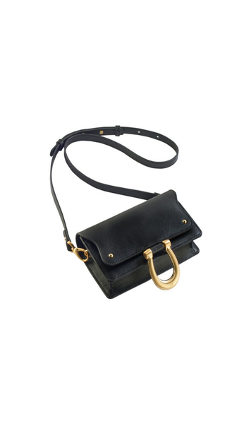 Black Mini Rectangle Crossbody Bag with shoulder strap