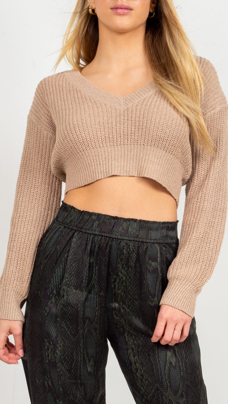 Brielle Knit Sweater - Mocha