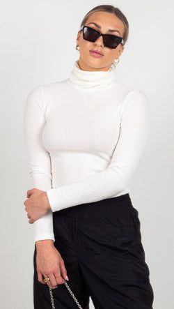 Animari ribbed turtle neck white