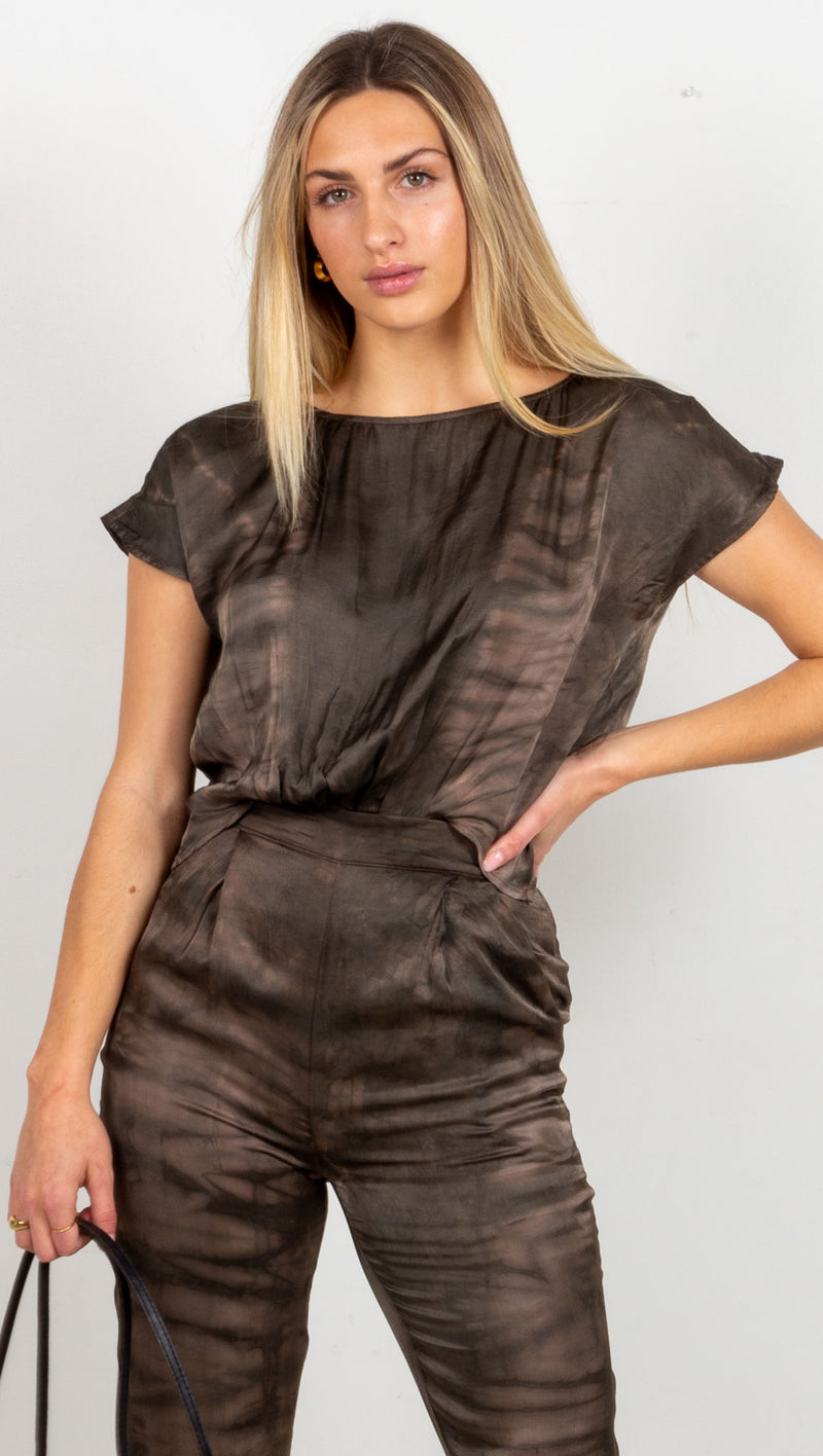 Emmeline Open Back Jumpsuit - Dark Brown Tie Dye