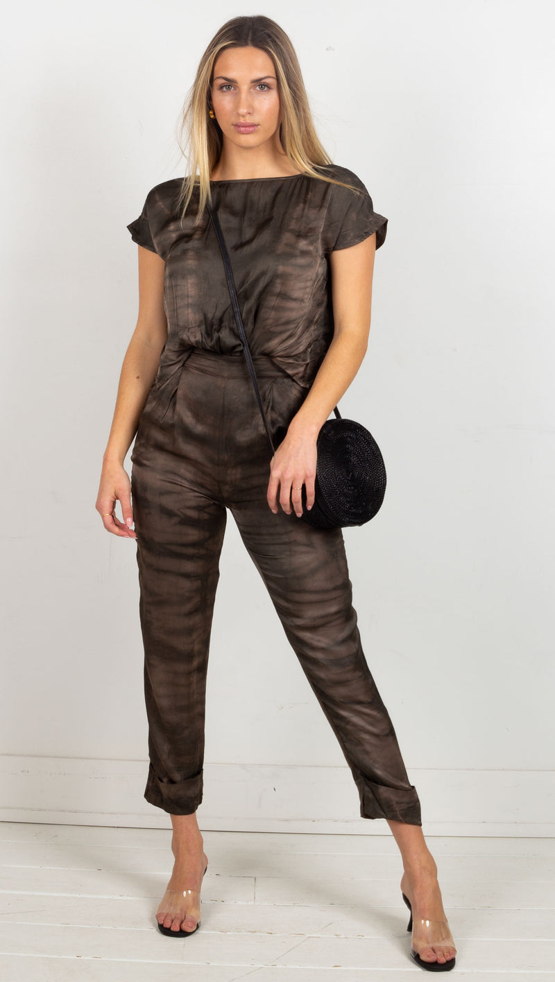 Animari tie dye jumpsuit dark brown