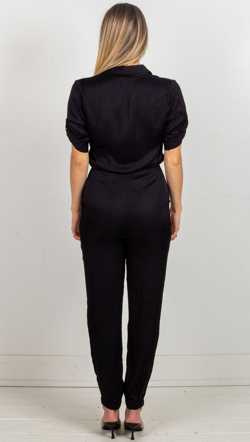 Satin Short Sleeve Jumpsuit - Black