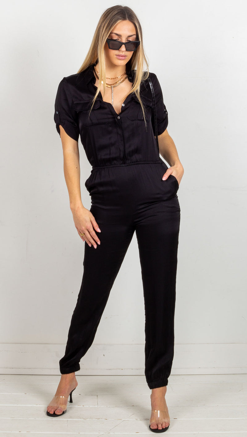 stpl satin short leave jumpsuit black