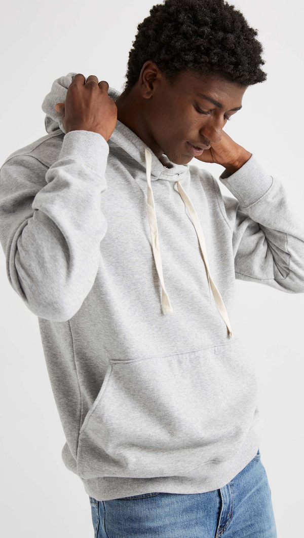 Richer Poorer Men's Heather Grey Fleece Hooded Sweatshirt